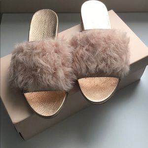 Loeffler Randall Real Fur Slides.